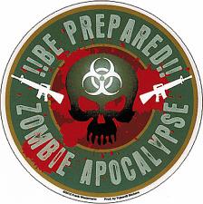 15735 Zombie Hunter Skull Machine Guns Biohazard Apocalypse Sticker / Decal