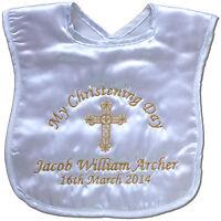 Personalised Christening/Baptism Bib Baby Boy/Girl/Naming Day Keepsake Gift