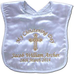 Christening Baptism Bib Baby Personalised Boy/Girl/Naming Day Keepsake Gift
