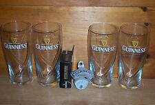 GUINNESS STOUT 4 GALAXY 20oz BEER PINT GLASSES & STATIONARY BOTTLE OPENER NEW