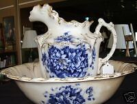 Flow Blue Bowl and Pitcher Antique estate Victorian home bath