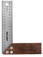"""CARPENTERS SQUARES WITH ROSEWOOD TYPE HARDWOOD STOCK, STAINLESS STEEL 6"""" (150mm)"""