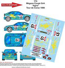 DECALS 1/24 REF 174 RENAULT MEGANE CHKONDALI TOUR DE CORSE 1998 RALLYE RALLY WRC