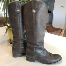 FRYE Melissa Button Leather Riding Boots Brown Tall Pull On Distressed Size 7