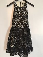 Alice + Olivia Embroidered Tulle Black White Lace Dress New With Tags $550