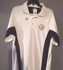 Pittsburgh Steelers Medium White Yellow Polo Shirt NFL Majestic New