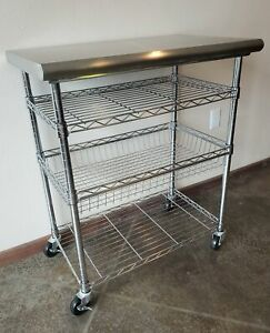 Seville Classics Stainless Steel Kitchen Cart, locking wheels