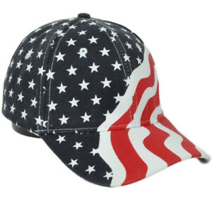 United States Flag Red White Blue Curved Bill Hat Cap Adjustable USA America