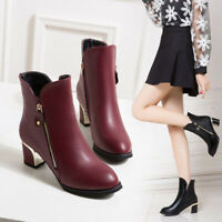 UK Ladies Mid Heel Ankle Boots Womens Faux Leather Shoes Black Red Size 2-7.5