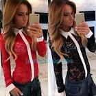 Fashion Womens Sexy Vintage Long Sleeve Sheer Tops Hollow Lace Shirt Blouse New