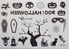 Halloween Temporary Body Tattoos Skull Pumpkin Spider Bones Booh Cofin Cat Web
