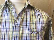 James Pringle Medium Blue Yellow Brown Check Short Sleeve Smart Shirt VGC