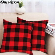 Red Black Buffalo Plaid Pillow Covers Cotton Linen Cushion Case Sofa Home Decor