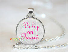 Baby Girl on Board glass dome Tibet silver Chain Pendant Necklace wholesale