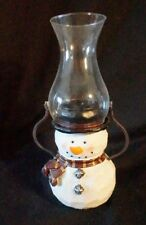 Avon Snowman Tealight Candle Lantern Faux Carved Wood Metal Arms 2004