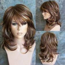 New Womens Brown Ombre Short Bob Style Curly Wigs Ladies Natural Wavy Hair Wigs
