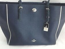 COACH Purse Turnlock Tote Handbag Carryall Teal Blue Green White Leather $295