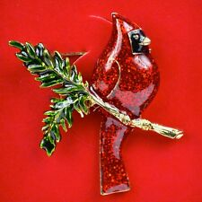 Macy's Charter Club Holiday Lane Gold-Tone Red Cardinal Brooch Pin