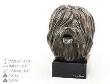 Polish Lowland Sheepdog, dog bust marble statue, ArtDog Limited Edition, Usa