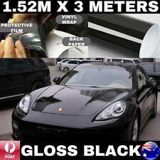 1.52M X 3M GLOSS BLACK CAR VINYL WRAP FILM AIR BUBBLE FREE 3 LAYERS PREMIUM