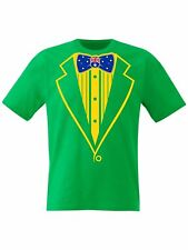 Tuxedo T Shirt Australia Flag Bow Prom Stag Hens Fancy Dress - Sizes Small - 8XL