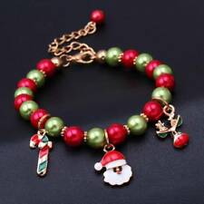 Women Girls Christmas Santa Claus Elf Beads Bangle Bracelet Jewelry Kids Gifts