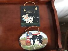 Lot of 2 Humorous Wall Hanging Oval Slate Plaques Cows with Flag. other