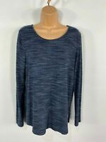 WOMENS NEW LOOK NAVY BLUE STRIPE LONG SLEEVE SOFT CASUAL CURVED HEM TOP UK 12