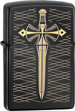Zippo Choice Gold Dagger Sword Laser Engraved Black Ice WindProof Lighter 28799