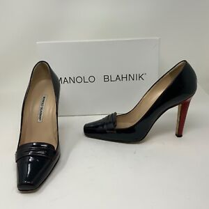 Manolo Blahnik Patent Leather Slip On Penny Loafer Pumps High Heels Shoes 8