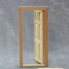 New 1/12 Unpainted Dollhouse Miniature Wooden Interior 6-Panel Door With Frame