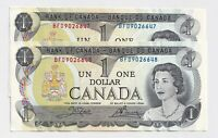 2 x Sequential 1973 $1 Bank of Canada Notes AU