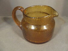 VINTAGE AMBER TOPAZ BUBBLE ART GLASS PITCHER WITH APPLIED HANDLE