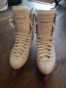 GRAF 500 : ICE SKATES - Professional skates, white leather size 36 UK3