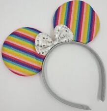 RAINBOW  Minnie mouse ears hairband fancy dress party hen night glitter pride