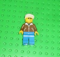 Minifigures Suit with 4 Buttons Police Lego White Hat cop001 Black Legs