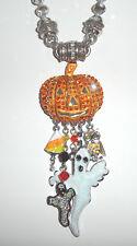 Kirks Folly Peter Pumpkin Halloween Charm Magnetic Enhancer & Crystal Necklace