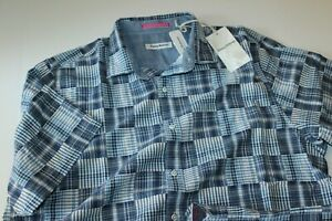 Tommy Bahama Camp Shirt Patchworks In Paradise Monaco Blu T321625 Extra Large XL