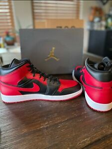 NEW JORDAN 1 MID 'BANNED' 2020 BLACK/UNIVERSITY RED-WHITE SIZE 14 Dead Stock