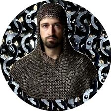 Mild Steel Chain mail 9 mm Medieval Coif /Hood Flat Riveted Flat Washer Black