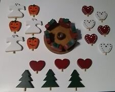 Wooden Handmade Candlestick Circle Holder Valentine Christmas Halloween Holiday