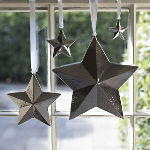 Star Hanging Decoration Hammered Finish - 4 Sizes Available