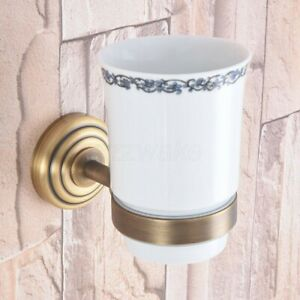 Antique Brass Wall Mounted Bathroom Toothbrush Holders Single Ceramic Cup Zba744
