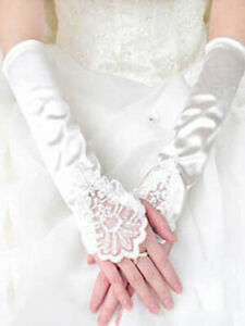 Brauthandschuhe fingerlos Braut Handschuhe Perle PailletteStrass Hochzeit creme
