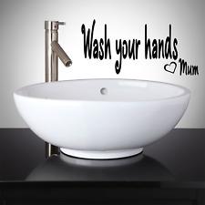 Pegatinas de Pared Calcomanía Baño Inodoro lávese las manos mamá palabra Citar Vinilo V136