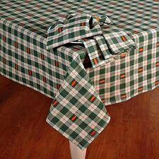 """Thanksgiving Fall Decor Tablecloth Plaid Sage Green Embroidered Leaves 70"""" ROUND"""