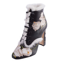 DOLCE & GABBANA Leather Heel Ankle Boots Size 36 UK 3 Fur Made in Italy RRP€1399