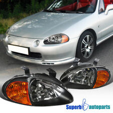 For 1993-1997 Honda Del Sol Black Headlight Head Lamps Replacement