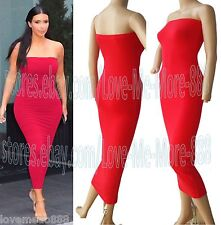 Sexy Club Party Off Shoulder Tight Slim Fit TUBE STRETCH Long Maxi Dress RED 4XL