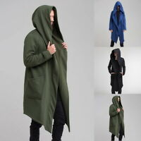 Loose Solid Men  Gothic Long Cloak Cape Coat Cardigan Hoodie Fashion Jacket